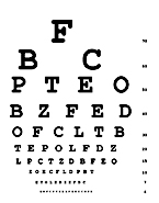 Drawing of an eye chart with rows of letters in decreasing sizes used for an eye exam.