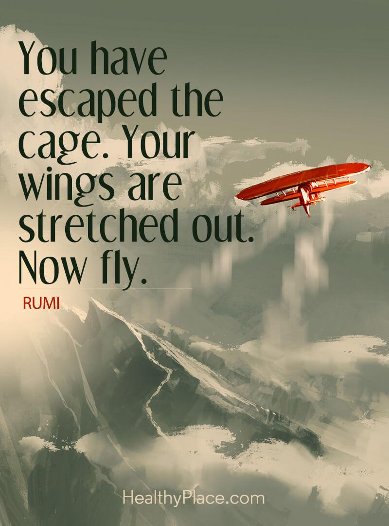 Abuse quote - You have escaped the cage. Your wings are stretched out. Now fly.