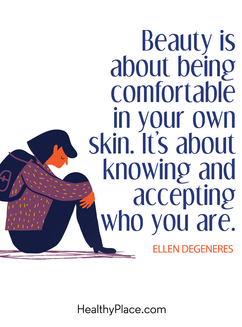 Quote on eating disorders - Beauty is about being comfortable in your own skin. It's about knowing and accepting who you are.