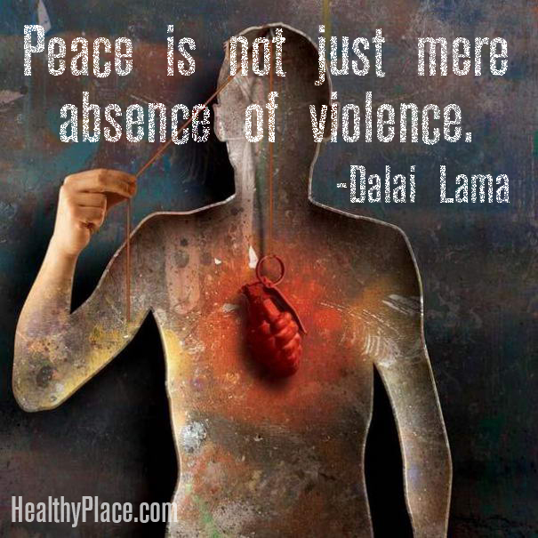 Quote on abuse - Peace is not just mere absence of violence
