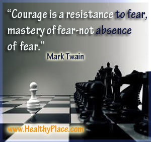 Quote on fear and absence of fear - Courage is resistance to fear, mastery of fear - not absence of fear.