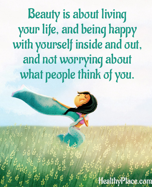 Quote on eating disorders - Beauty is about living your life, and being happy with yourself inside and out, and not worrying about what people think of you.