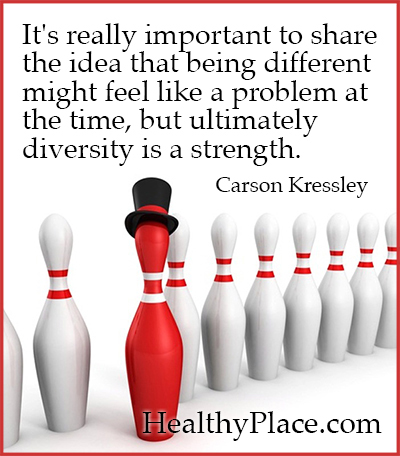 Quote on mental health - It's really important to share the idea that being different might feel like a problem at the time, but ultimately diversity is a strength.