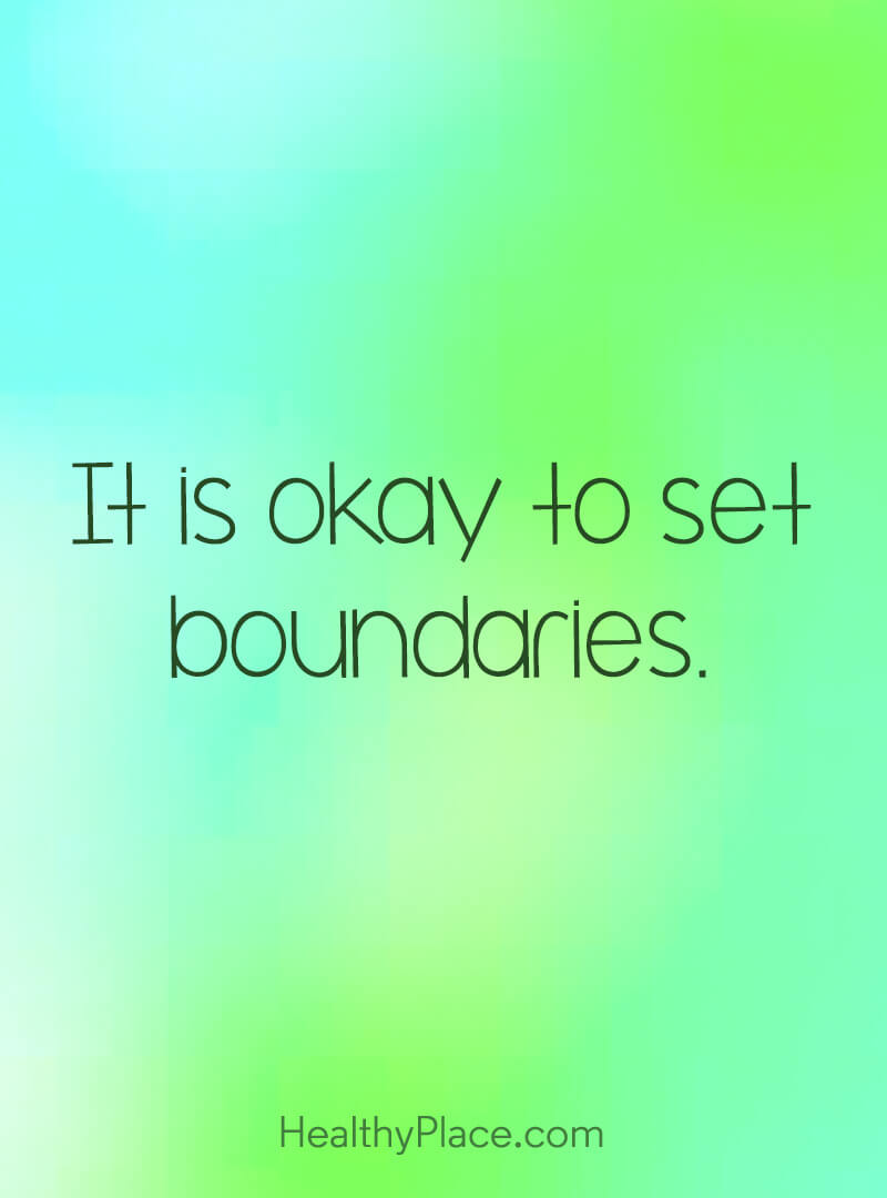 Quote about self-help - It is okay to set boundaries.