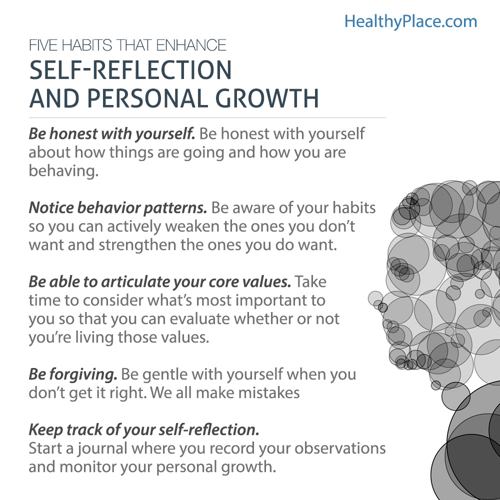 Poster giving five tips on self-reflection to attain personal growth.