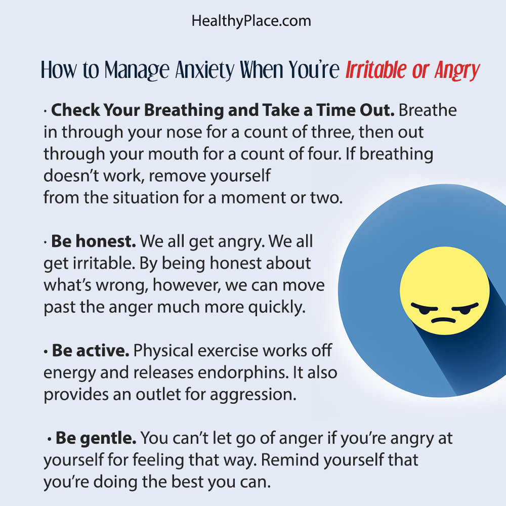 A poster to share about being angry, irritable and anxious