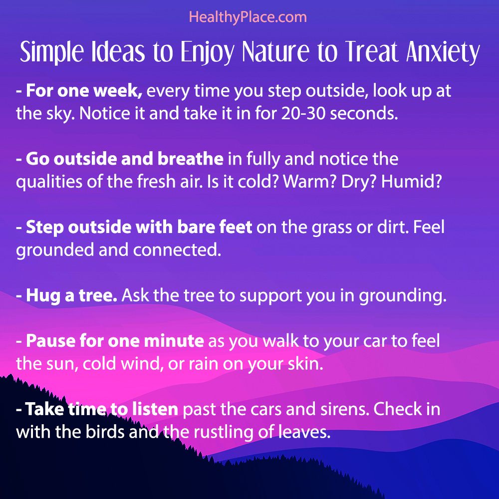 Sharable poster for the '7 Quick Ways to Use Nature to Help Treat Anxiety' post on HealthyPlace